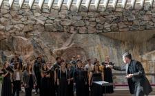 Godspell choir in Temppeliaukion Church