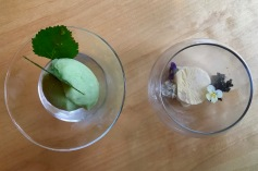 Liquorice Semifredo, smoked in pine needles with Liquorice stones and Sorbet of Birchleaves - Restaurant Aanaar / Inari