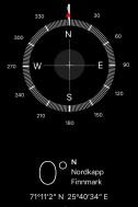 iPhone Compass at Knivskjelodden (710 12´ 2¨)