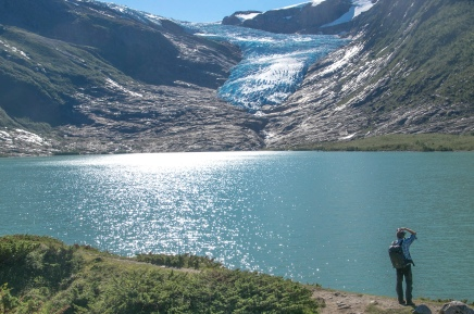 Christian capturing the Svartisen Glacier lagoon