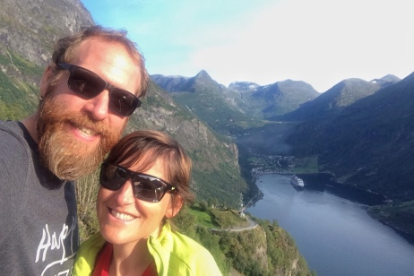 """""""Selfie"""" at the Geiranger Fjord viewpoint"""