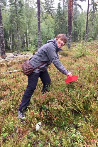 Isabel picking blue berries