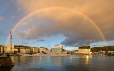 Rainbow over Oslo Opera