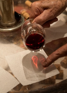 Different stages of the wine tasting - see