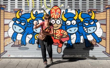 "Isabel running ""San Fermin"" - the famous bull race"