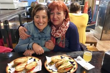 Marisa and Isabel enjoying tapas