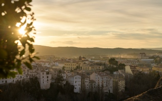 Setting sun over the modern part of Cuenca