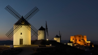 Windmills of Consuegra and Castle at night