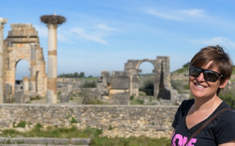Isabel exploring Volubilis