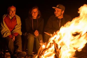 Enjoying the camp fire