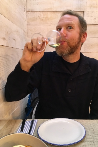 Christian enjoying the wine